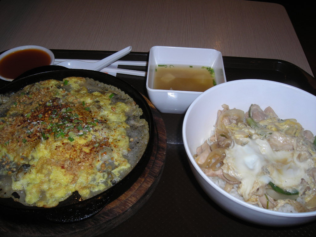 牡蠣の鉄板焼きと親子丼